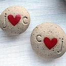 Personalised Initials Ceramic Heart Pebble