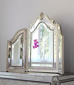 Silver Trimmed Venetian Table Mirror - furniture