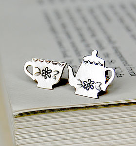 'Tea for One' Silver Earrings