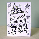 Colour In Birthday Cake Card