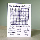 'Birthday Wordsearch' Card