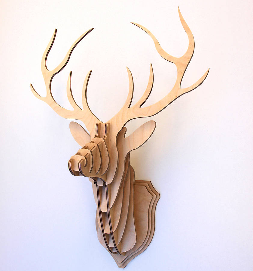 Wooden Stag Head Wall Trophy By Clive Roddy