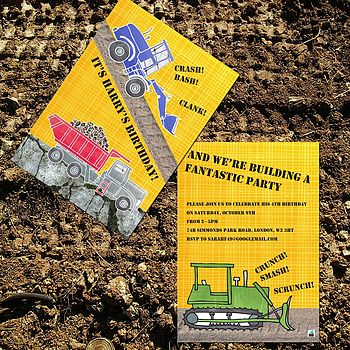 Pack Of Ten Personalised Construction Invites