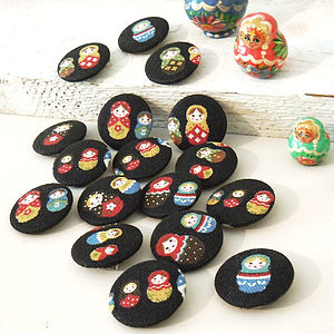 Russian Doll Fabric Badge Set - wedding favours