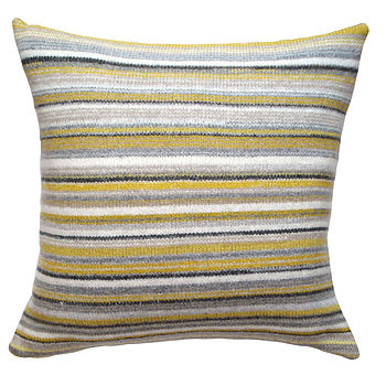 Bamboo Stripe Knitted Lambswool Cushion