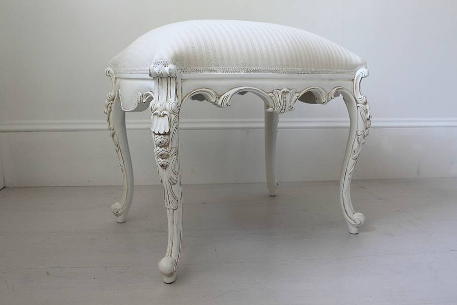 White French Dressing Table Stool By Out There Interiors