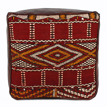 Moroccan Leather Pouffe Cover With Kilim