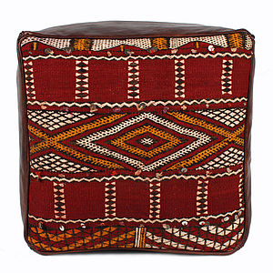 Moroccan Leather Pouffe Cover With Kilim - furniture