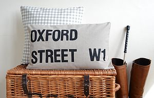 Personalised Street Sign Cushion Cover - inspired by travel