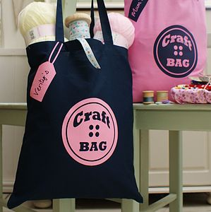 Personalised Button Craft Or Knitting Tote Bag - bags & purses