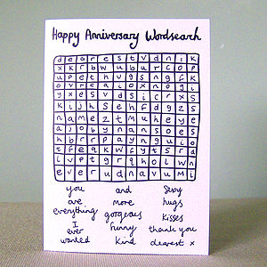 'Happy Anniversary Wordsearch' Card