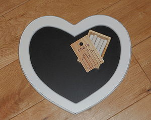 Heart Chalkboard With Chalk - art & pictures