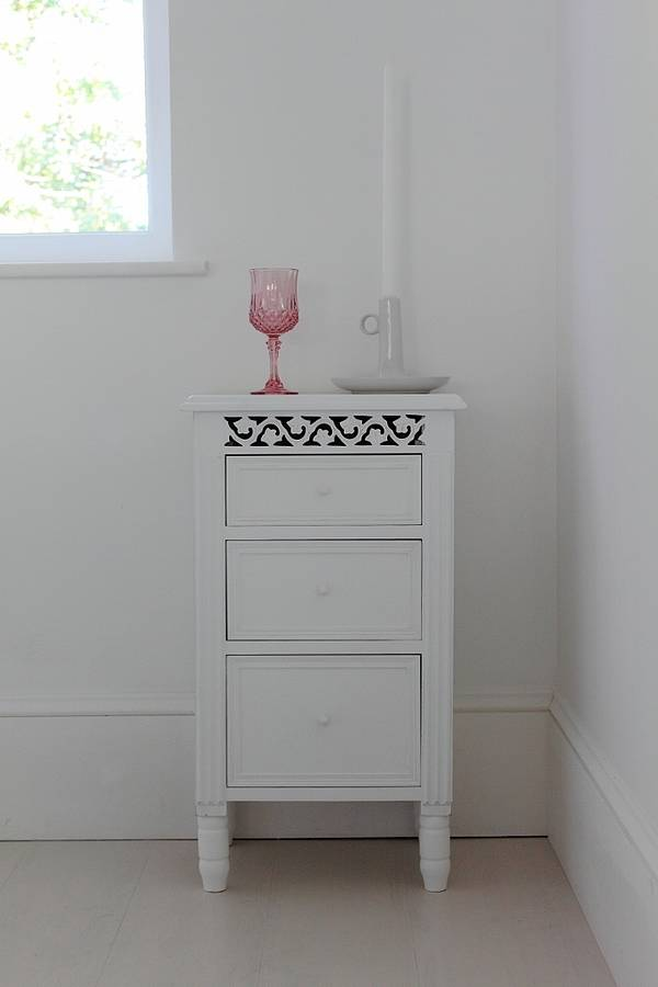 White Fretwork Bedside Table By Out There Interiors
