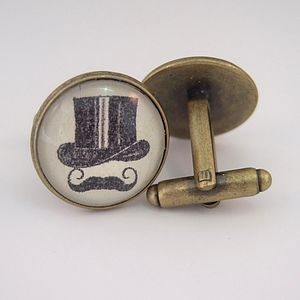 Top Hat And Moustache Round Cufflinks - men's jewellery