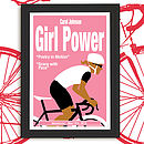 Personalised Cycling Print 'Girl Power' .Pink