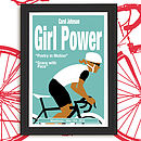 Personalised Cycling Print 'Girl Power'. Blue-Grey