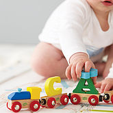 Personalised Bright Wooden Alphabet Train - gifts for babies & children
