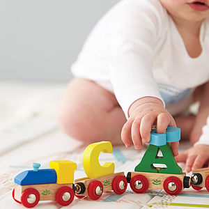 Personalised Bright Wooden Alphabet Train - decorative letters