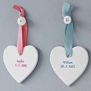 Personalised New Baby Heart - keepsakes