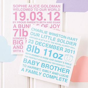 Personalised New Baby Boy & Girl Card - cards sent direct