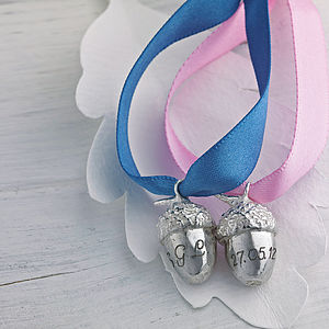 Personalised Silver Acorn Keepsake - gifts for babies
