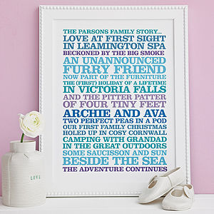 Personalised 'Family Story' Poster Print