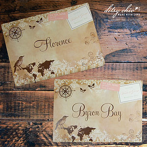 Vintage Style World Map Table Name - place cards