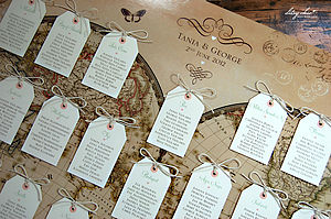 Vintage Style Word Map Wedding Table Plan - table decorations