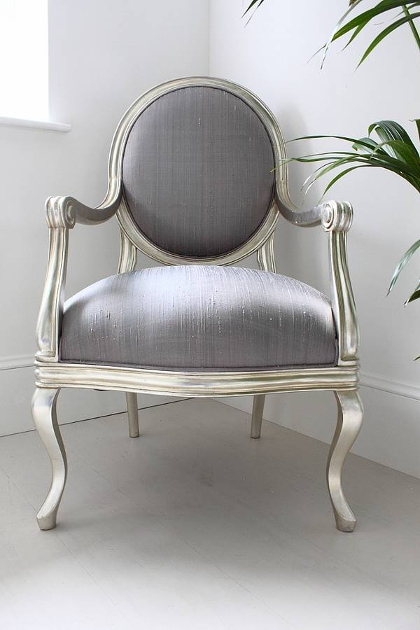 french silver armchair lilac cover by out there interiors ...