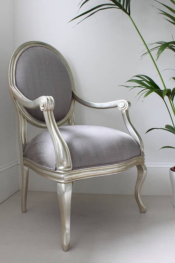 Captivating French Silver Armchair Lilac Cover