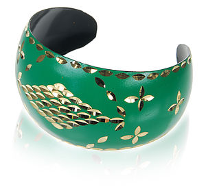 Hand Enamelled Emerald Cuff - women's jewellery