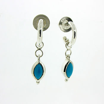 Silver And Turquoise Mini Hoop Earrings