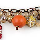 Crystal Wood And Copper Charm Bracelet