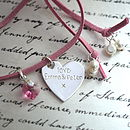 Personalised Silver Heart Suede Necklace