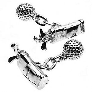 Silver Plated Golf Bag & Ball Cufflinks