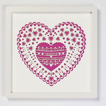 Personalised Laser Cut Wedding Heart