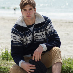 Men's Hand Knitted Patterned Cardigan - men's sale