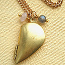Half Heart Locket Gemstone Necklace