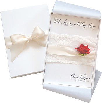 Lace And Rose Large Boxed Wedding Card