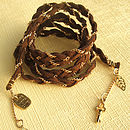 Plaited Tie For Wrist Head Hair Ankle: Brown