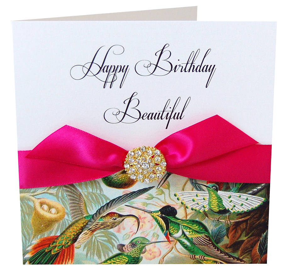 Bird Print Ladies Personalised Birthday Card By Made With