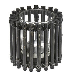 Handmade Black Bamboo Tealight Holder - bedroom