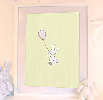Little Happy Bunny Nursery Art Print