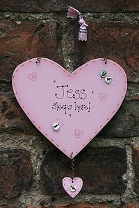 Handmade Wooden 'Sleeps Here' Heart Sign