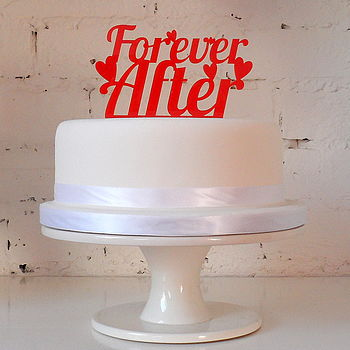 'Forever After' Wedding Cake Topper - Red