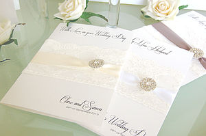 Lace & Crystal Personalised Wedding Card Lge