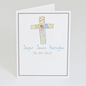 Personalised Cross Card - new baby & christening cards
