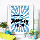 Customer Family Circus Print - Sky Blue