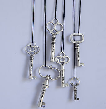 Silver Plated Pewter Key Necklace