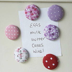Six Fabric Covered Magnetic Buttons - magnets